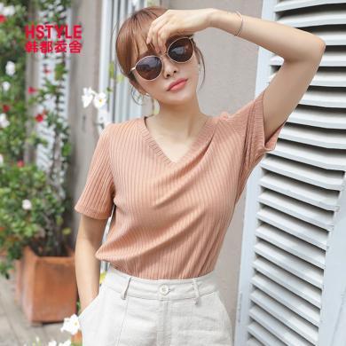 韓都衣舍2019夏裝新款韓版女裝上衣氣質V領純色短袖T恤JZ11209瑭