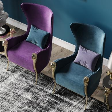 奢恩 休閑椅 現代輕奢 鋁合金電鍍+實木框架+高回彈海綿 YX-020