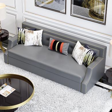 慕梵迪 沙發 現代輕奢 實木框架+高回彈海綿+皮+五金腳 D1006 沙發