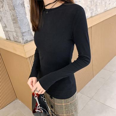 七格格長袖t恤女裝2019新款潮秋冬修身顯瘦內搭上衣黑色打底衫
