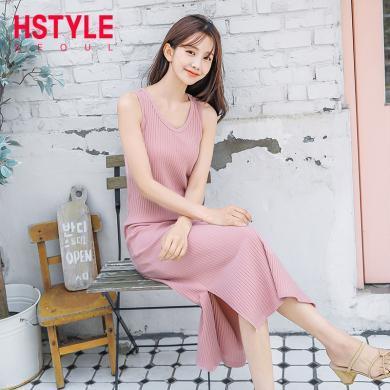 韩都衣舍2019夏装新款女装修身纯色打底吊带连衣裙EQ12904婋0429