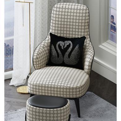 慕梵迪 單椅 現代輕奢 實木框架+超纖皮+高回彈海綿+不銹鋼電鍍五金 T0017