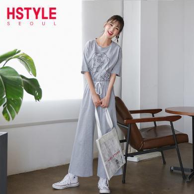 韓都衣舍2019夏裝新款女裝短袖闊腿褲兩件套顯瘦套裝MR9032汩0406