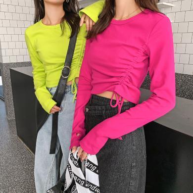 七格格T恤女2019秋季新款韩版修身显瘦个性抽绳短款打底长袖上衣