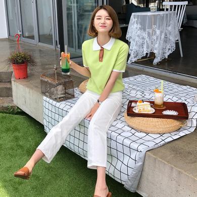 韓都衣舍2019夏裝新款女裝韓版直筒綠色polo針織衫OM60623烎