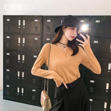 七格格長袖上衣女2019新款秋季薄款修身韓版黑色V領百搭t恤打底衫