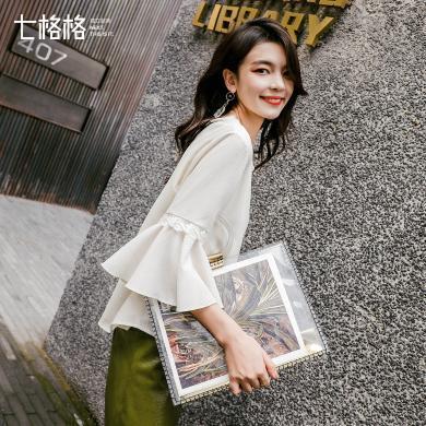 七格格蕾絲上衣女韓版2019春季洋氣小衫新款白色寬松荷葉邊雪紡衫