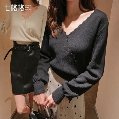 七格格毛衣女士2019新款秋季黑色長袖套頭短款罩衫外搭針織衫上衣