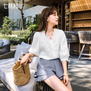 七格格白色蕾絲上衣春季女2019夏新款韓版百搭襯衫很仙的小衫洋氣