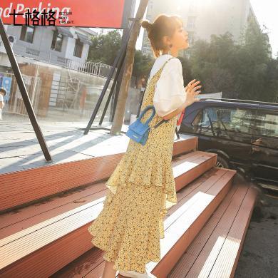 七格格连衣裙女春款2019新款修身长款吊带雪纺裙子不规则蛋糕裙潮