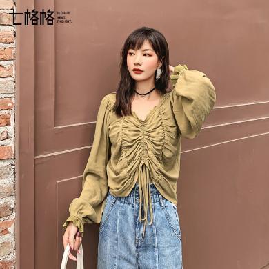 七格格衬衫女设计感小众秋季上衣2019新款宽松复古港味长袖衬衣潮