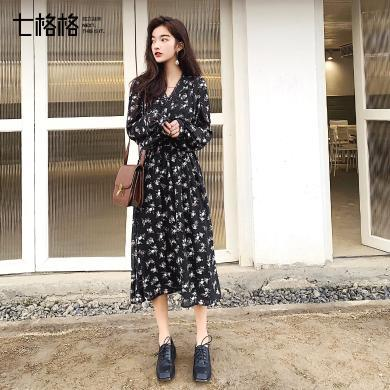 七格格雪纺连衣裙春装2019新款女长袖法式复古高腰气质中长款裙子