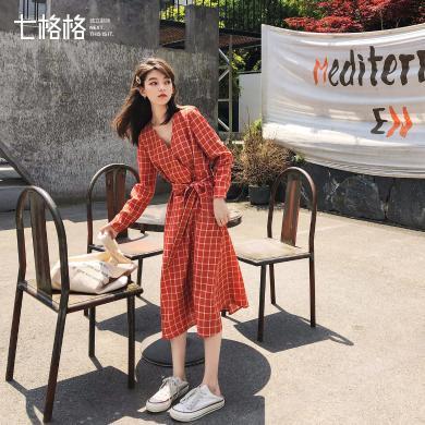 七格格連衣裙女學生韓版2019新款秋季紅色套頭格子氣質中長款裙子