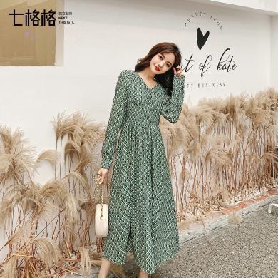 七格格連衣裙2019新款秋季長袖格子裙子女韓版顯瘦氣質收腰長裙潮