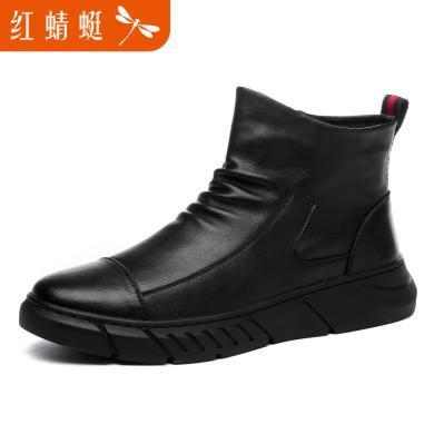 红蜻蜓?#34892;?#20241;?#34892;?#30007;士鞋子男冬季韩版加绒保暖高帮鞋时?#26032;?#19969;靴工装靴子男靴潮流户外加绒棉鞋C0191225
