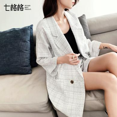 七格格chic格子小西装外套女夏装2019新款韩版宽松气质休闲薄西服
