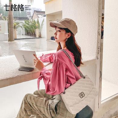 七格格白色衬衫女2019新款秋季娃娃衫上衣韩版宽松设计感长袖衬衣