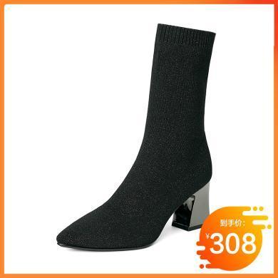 百田森針織襪子靴彈力靴女襪靴時尚秋新款尖頭短靴絲襪靴子瘦瘦靴PYQ18852