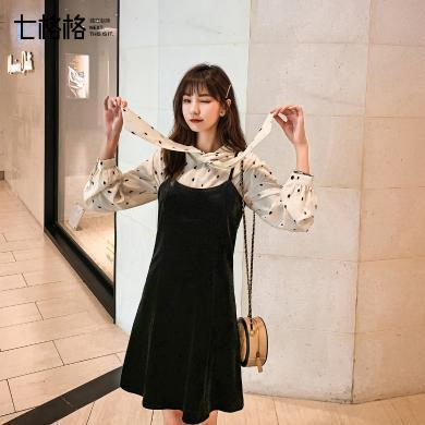 七格格连衣裙小个子女2019新款秋季韩版气质黑色显瘦无袖吊带裙子