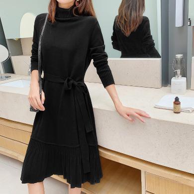 七格格連衣裙女2019冬季新款韓版寬松顯瘦高領百褶裙過膝中長裙子