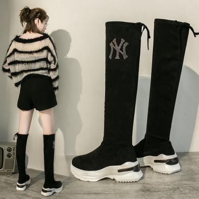 街拍时尚潮鞋2019秋冬女鞋高筒运动袜靴女弹力高筒长靴过膝靴MS-M9928