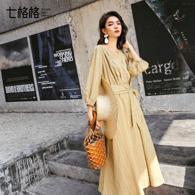 七格格连衣裙春装2019新款女秋冬季度假气质法式复古裙子收腰长裙