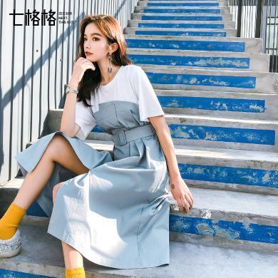 七格格短袖連衣裙夏季2019新款女裝潮氣質韓版學生收腰中長款裙子
