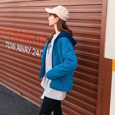 七格格时尚棉服冬季外套女2019新款韩版宽松学生连帽短款轻薄棉衣