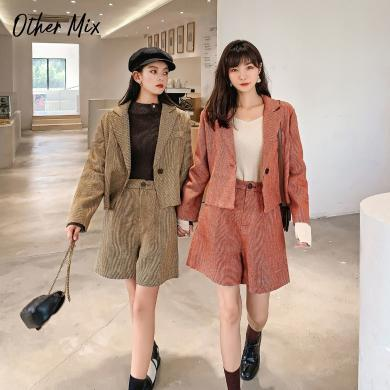 七格格西裝外套女2019新款秋季長袖短款韓版修身洋氣格子小西服潮