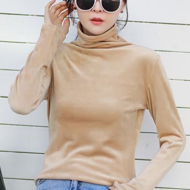 新款秋冬款高領加絨內搭長袖T恤女裝修身純色打底衫超火保暖