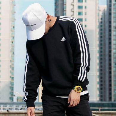阿迪达斯男子长袖T恤2019秋季加绒加厚运动卫衣套头衫BQ9645