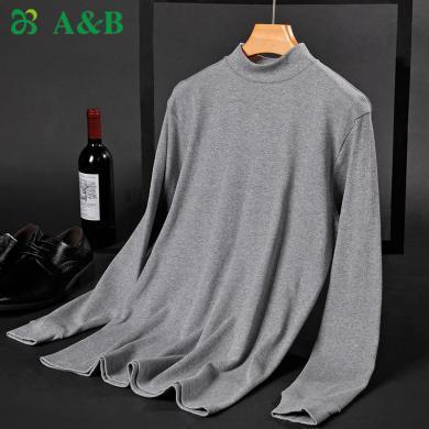 A&Bab内衣男士保暖单件上衣薄款纯棉半高领内穿贴身棉毛衫(T667 )