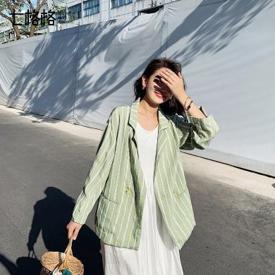 七格格西裝外套女2019新款夏季韓版寬松顯瘦條紋薄款七分袖上衣潮