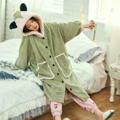 黛梦思珊瑚绒睡袍女秋冬加厚加绒浴袍冬季保暖绿色法兰绒女士睡衣DMS9808166