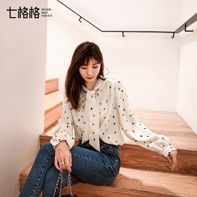 七格格雪紡衫女長袖2019新款秋季韓版寬松顯瘦時尚波點蕾絲衫上衣