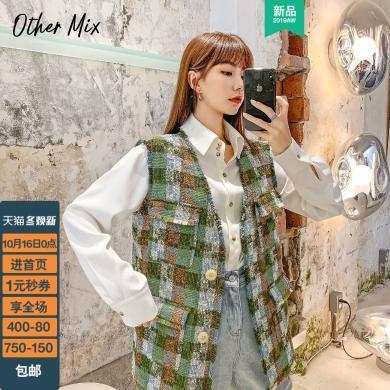 七格格冬季馬甲女2019新款韓版格子外套無袖v領背心外穿學生上衣