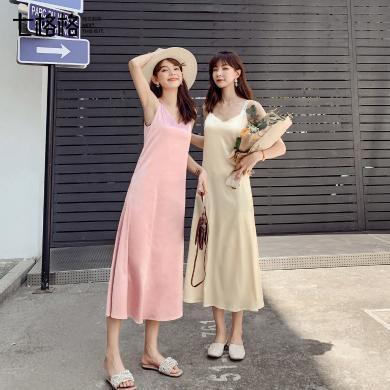 七格格連衣裙2019新款夏真絲顯瘦氣質裙子女中長款內搭雪紡吊帶裙