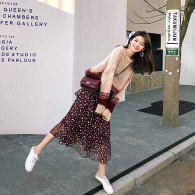 七格格針織衫女夏套頭寬松2019新款秋季拼色韓版學生洋氣時尚上衣