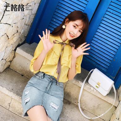 七格格黄色短袖?#32435;?#22899;装2019新款夏上衣系带洋气学生百搭宽松韩版