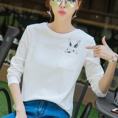右姿 秋裝新款文藝范白色T恤女印花長袖寬松百搭學生上衣