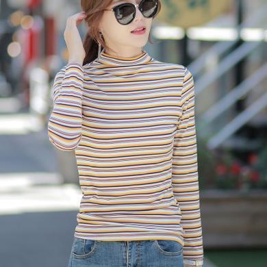 右姿 秋裝新款半高領打底衫女長袖t恤女條紋修身內搭體恤上衣