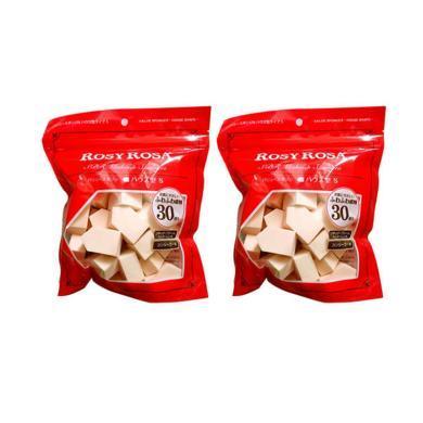 【支持购物卡】【2袋装】日本 ROSY ROSA 五角粉扑海绵30个入 专业化妆海绵