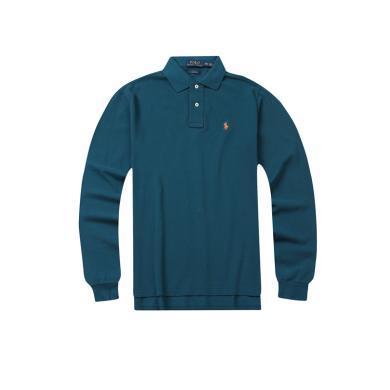 【支持购物卡】美国POLO Ralph Lauren拉夫劳伦典款小马标长袖湖蓝色修身版Polo衫