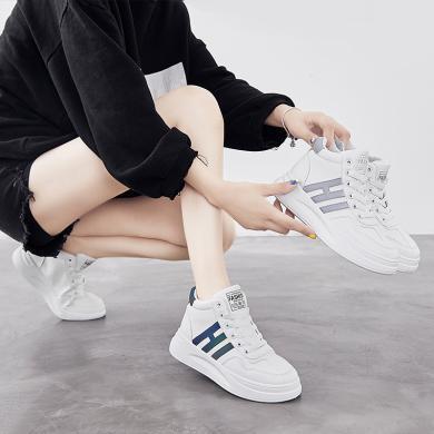 網紅同款女鞋秋冬韓版中幫反光ins超火智熏小白板鞋YG-C67