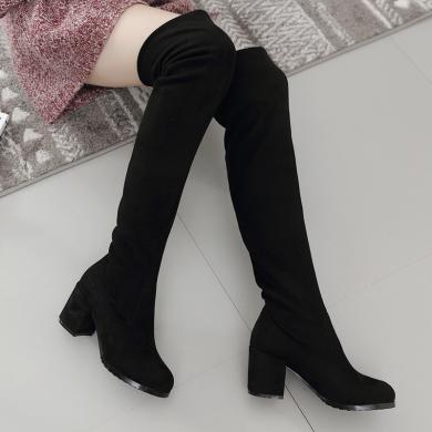 【7.4CM跟高】女鞋膝長靴女韓版百搭粗跟長筒靴女圓頭高跟綁帶彈力靴LC-A7511