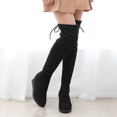 【7.5CM跟高】時尚女鞋過膝長靴女韓版增高長筒靴女圓頭高跟綁帶彈力靴LC-A7517