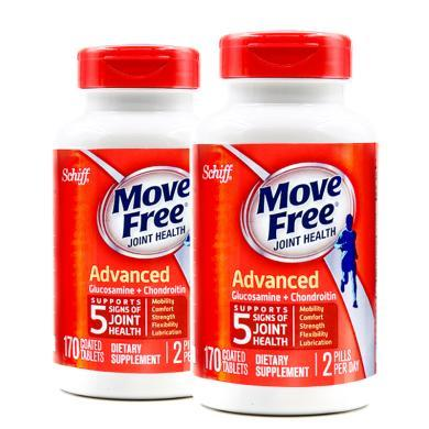 【支持购物卡】2瓶*美国Schiff旭福进口Move free氨糖软骨素片红瓶170粒   香港直邮