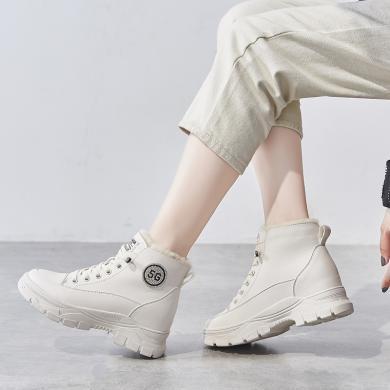 新款马丁靴棉鞋女加绒靴子女短靴白色马丁靴女雪地靴女鞋2019冬季LP-H728-6C