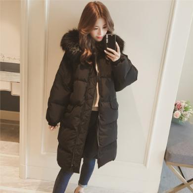 DOWISI2019冬季羽絨棉服加厚外套女冬面包服棉襖韓版中長過膝bf棉衣HS3600