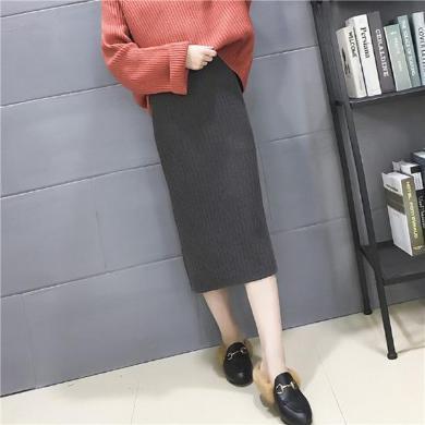 百依戀歌 針織半身裙秋冬新款女韓版中長款開叉一步包臀裙 hh123